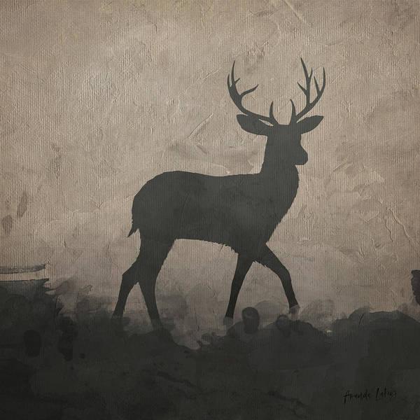 Deer Mixed Media - Silhouette Stag II by Amanda Lakey