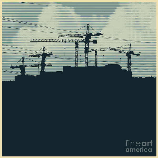 Wall Art - Digital Art - Silhouette With A Cranes And by Jumpingsack
