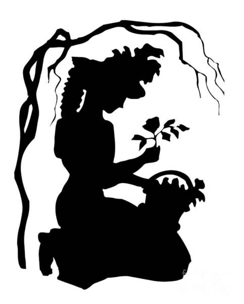 Digital Art - Silhouette Woman Picking Roses by Rose Santuci-Sofranko