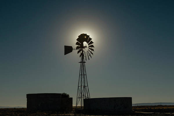Wall Art - Photograph - Silhouetted Windmill And Water Tanks by Adam Jones