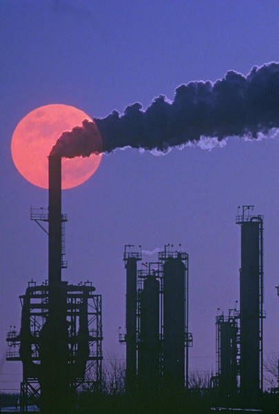 Pollution Photograph - Silhouettes Of Factory Smokestacks And by Visionsofamerica/joe Sohm