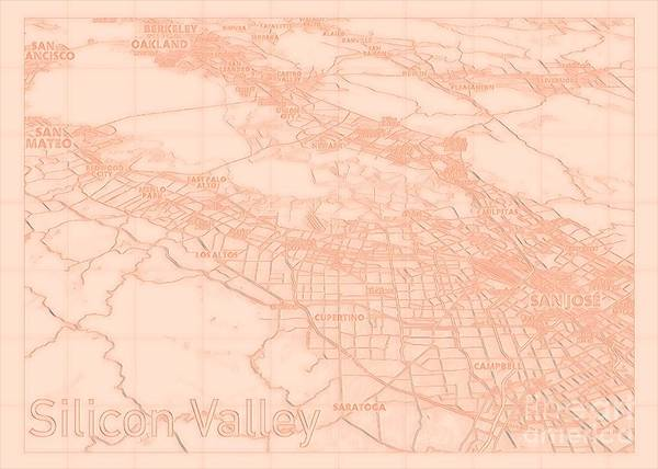 Digital Art - Silicon Valley Blueprint Map Alt by Helge