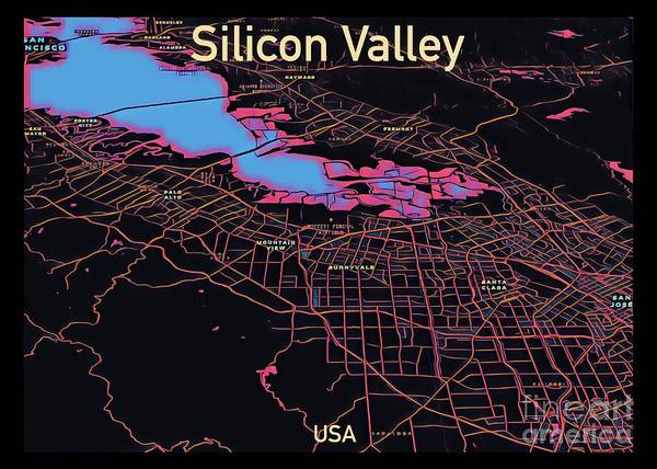 Digital Art - Silicon Valley Map by Helge