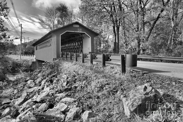 Photograph - Silk Covered Bridge Black And White by Adam Jewell