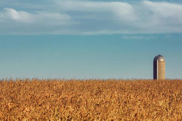Photograph - Silo Beyond Corn by Todd Klassy