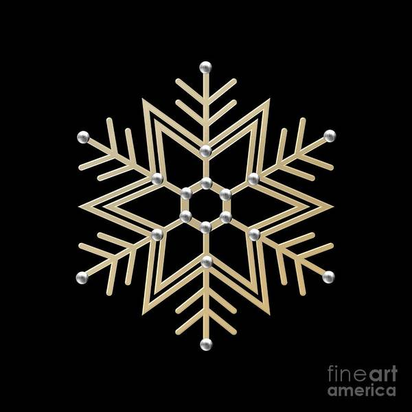 Digital Art - Silver And Gold Snowflake 1 At Midnight by Rose Santuci-Sofranko