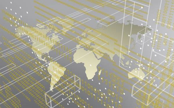 Digital Art - Silver And Tech Image Of Urban Worldmap by Alberto RuiZ