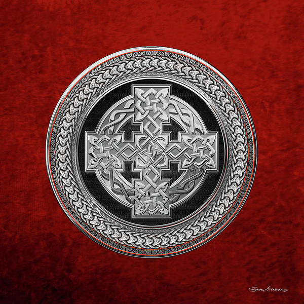 Digital Art - Silver Celtic Knot Cross Over Black With Silver Medallion Over Red Leather by Serge Averbukh
