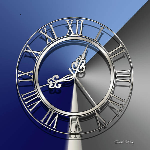 Digital Art - Silver Clock by Chuck Staley