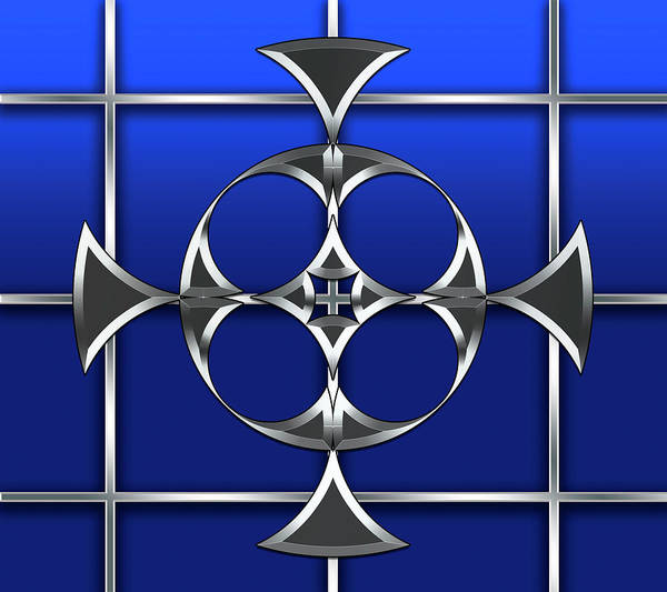 Digital Art - Silver Design On Grid 3 by Chuck Staley