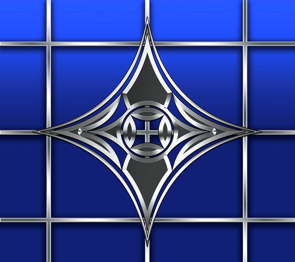 Digital Art - Silver Design On Grid by Chuck Staley