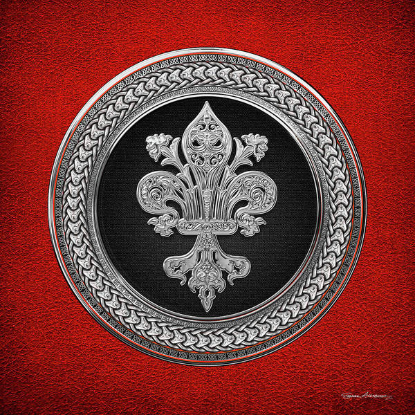 Digital Art - Silver Filigree Fleur-de-lis On Silver And Black Medallion Over Red Leather by Serge Averbukh