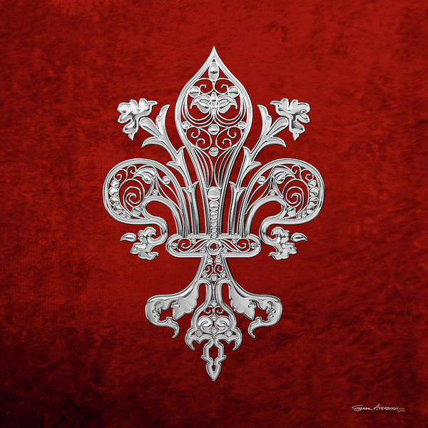 Digital Art - Silver Filigree Fleur-de-lis Over Red Velvet by Serge Averbukh