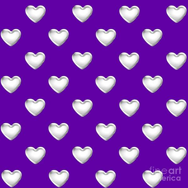 Digital Art - Silver Hearts On A Purple Background Saint Valentines Day Love And Romance by Rose Santuci-Sofranko