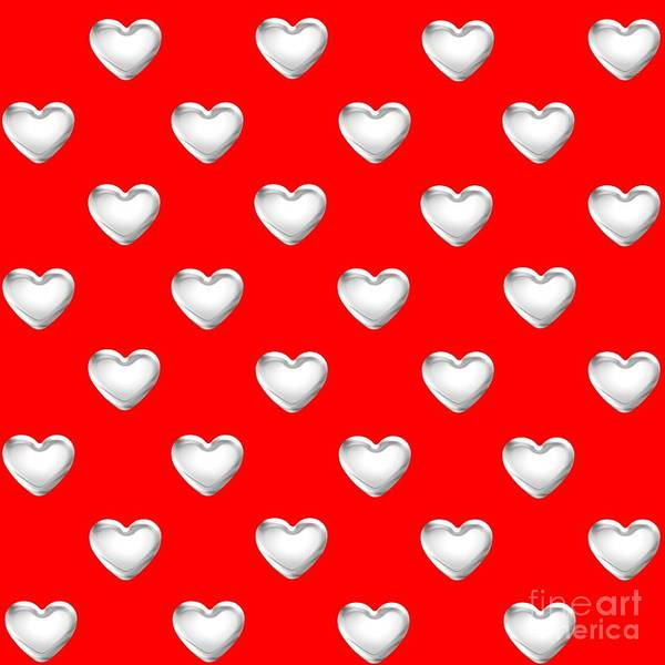 Digital Art - Silver Hearts On A Red Background Saint Valentines Day Love And Romance by Rose Santuci-Sofranko