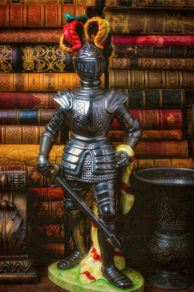Photograph - Silver Knight And Old Books by Garry Gay