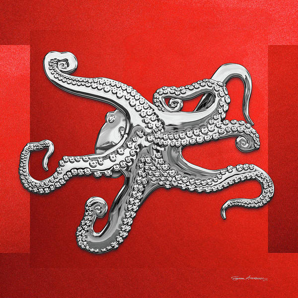 Digital Art - Silver Octopus On Red Canvas by Serge Averbukh