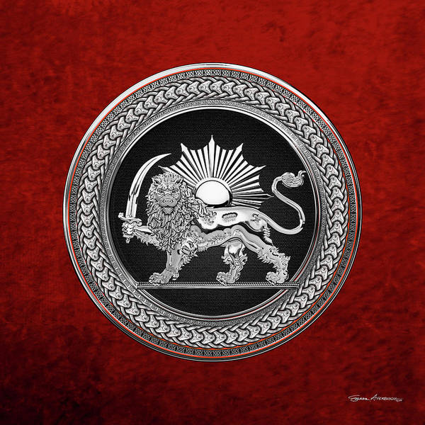 Digital Art - Silver Persian Lion And Sun Over Red Velvet by Serge Averbukh
