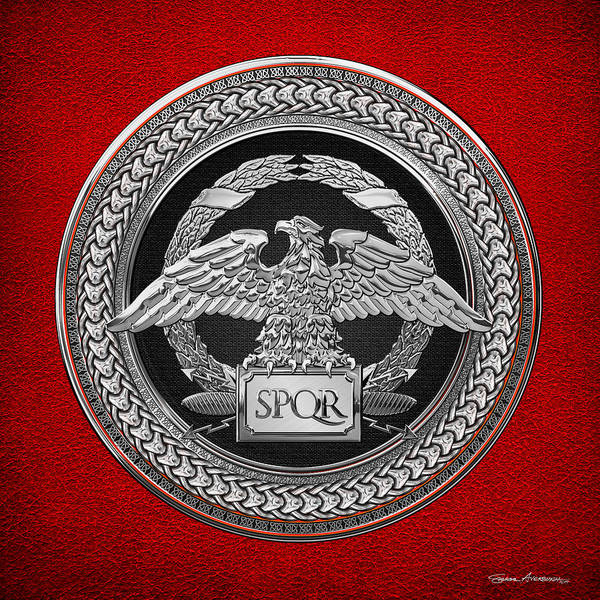Digital Art - Silver Roman Imperial Eagle Over Black And Silver Medallion On Red Leather by Serge Averbukh
