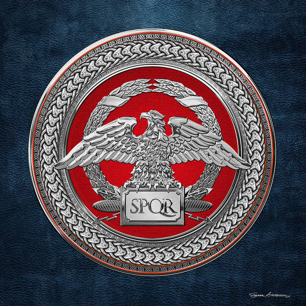 Digital Art - Silver Roman Imperial Eagle Over Red And Silver Medallion On Blue Leather by Serge Averbukh