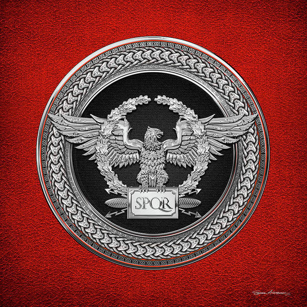 Digital Art - Silver Roman Imperial Eagle -  S P Q R  Medallion Edition Over Red Leather by Serge Averbukh