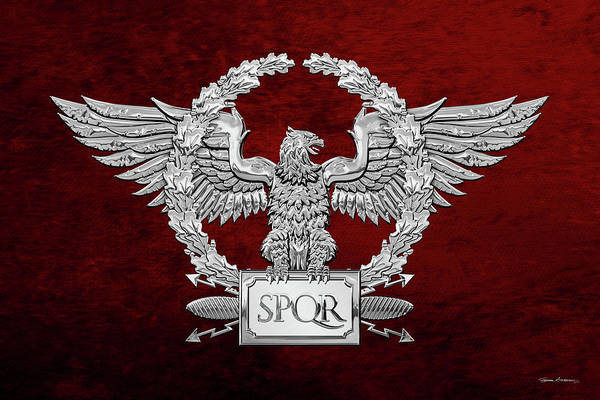 Digital Art - Silver Roman Imperial Eagle -  S P Q R  Special Edition Over Red Velvet by Serge Averbukh