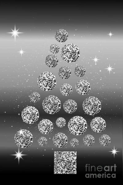 Digital Art - Silver Sequined Christmas Tree by Rachel Hannah