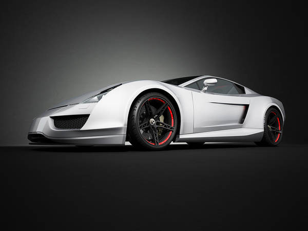 Motor Sport Photograph - Silver Sport Car On Black Studio by Firstsignal