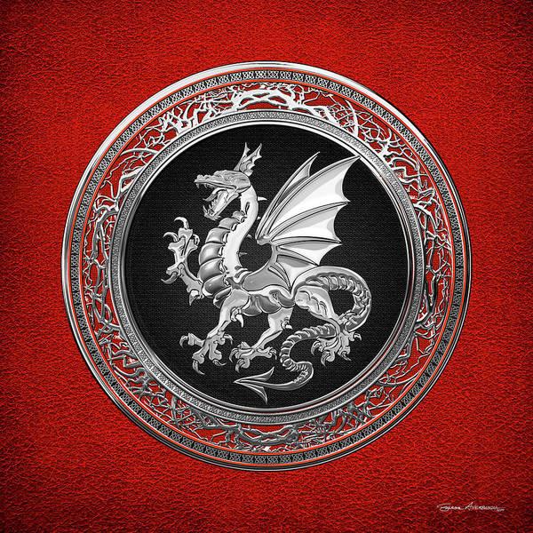 Digital Art - Silver Winged Norse Dragon - Icelandic Viking Landvaettir On Black And Silver Medallion Over Red  by Serge Averbukh