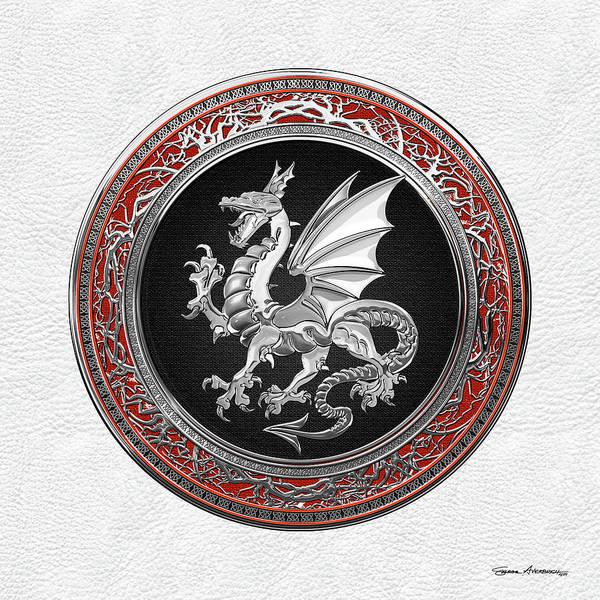 Digital Art - Silver Winged Norse Dragon - Icelandic Viking Landvaettir On Black And Silver Medallion Over White L by Serge Averbukh
