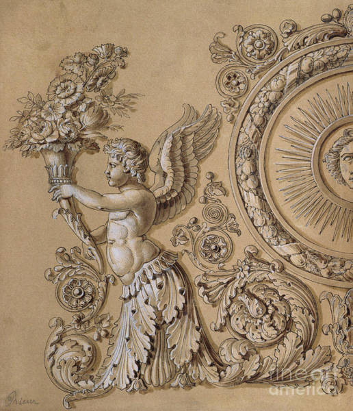 Collectible Art Drawing - Silverwork Design Depicting A Cherub With Acanthus Leaves Circa 1800 by Prieur