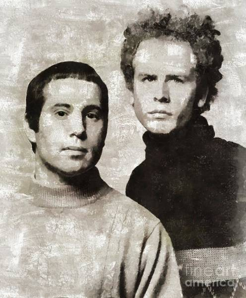Wall Art - Painting - Simon And Garfunkel, Music Legends by Mary Bassett