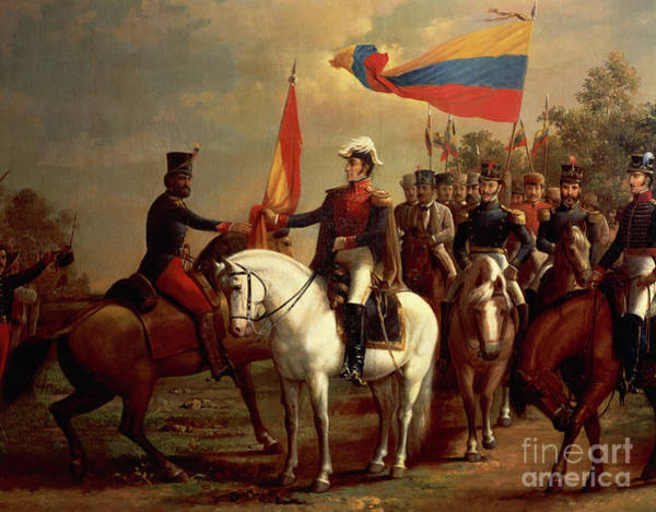 Wall Art - Painting - Simon Bolivar Honoring The Flag After Battle Of Carabobo, June 24, 1821, By Arturo Michelena  by Arturo Michelena
