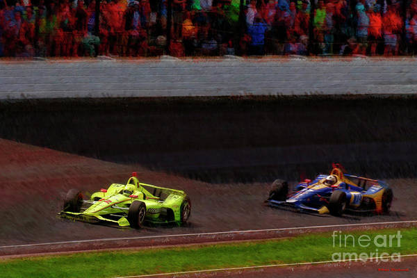 Photograph -  Simon Pagenaud Leads  Alexander Rossi Last Lap 2019 Indy 500 2019 by Blake Richards