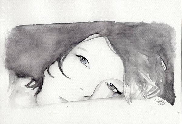 Guache Painting - Simona On The Pillow by Raffaello Saverio Padelletti