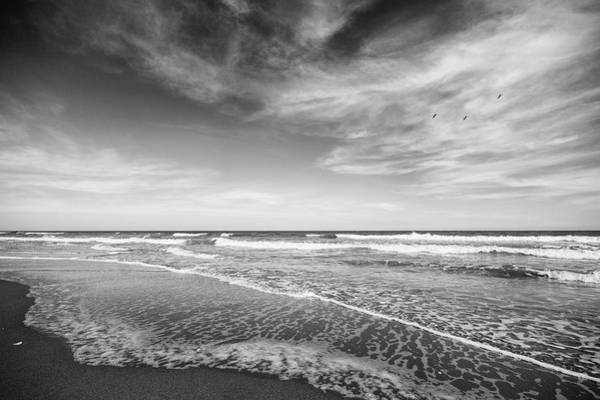 Wall Art - Photograph - Simple Beach Scene Black And White by Stephanie McDowell