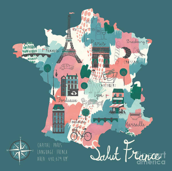 Wall Art - Digital Art - Simple Cartooned Map Of France With by Lavandaart