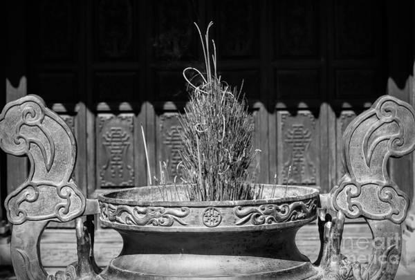 Wall Art - Photograph - Simple Vietnam Black White Incense Burn  by Chuck Kuhn