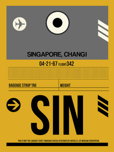 Wall Art - Digital Art - Sin Singapore Luggage Tag I by Naxart Studio