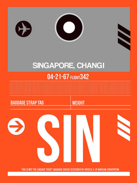 Wall Art - Digital Art - Sin Singapore Luggage Tag II by Naxart Studio