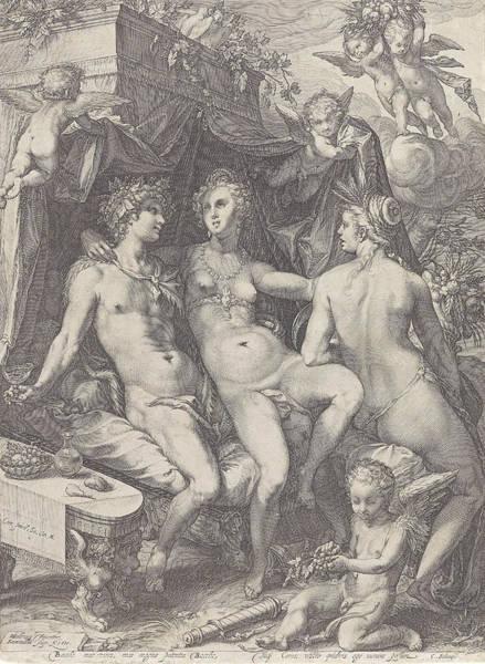Wall Art - Drawing - Sine Bacchus Et Ceres Friget Venus by Jan Saenredam