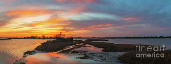 Wall Art - Photograph - Sinepuxent Bay Sunset Panorama  by Michael Ver Sprill