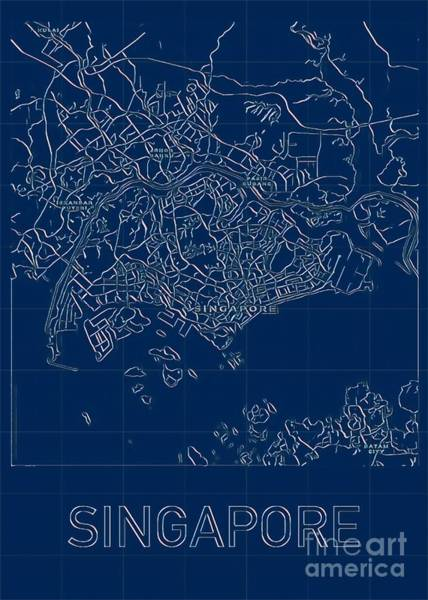 Digital Art - Singapore Blueprint City Map by Helge