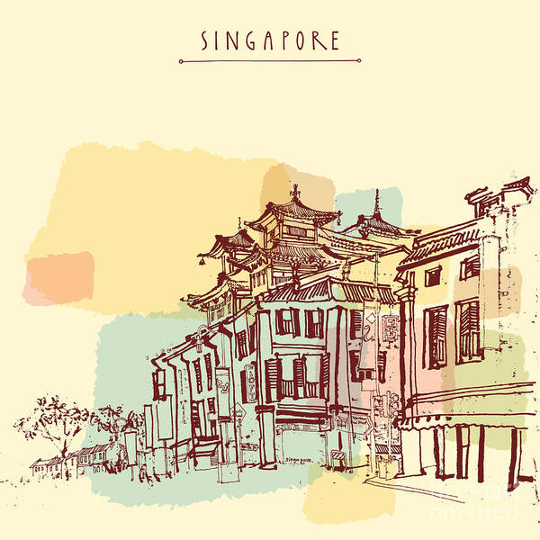 East Asia Wall Art - Digital Art - Singapore China Town Drawing. Vintage by Babayuka