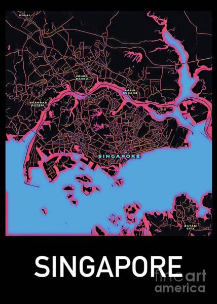Digital Art - Singapore City Map by Helge