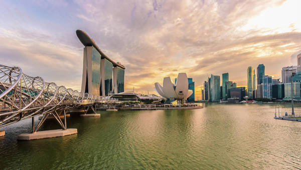 Luxury Hotel Photograph - Singapore City Skyline At Sunset by Pham Le Huong Son