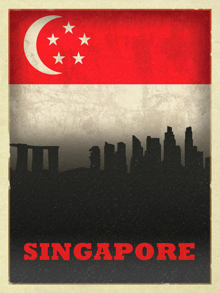 Wall Art - Mixed Media - Singapore City Skyline Flag by Design Turnpike