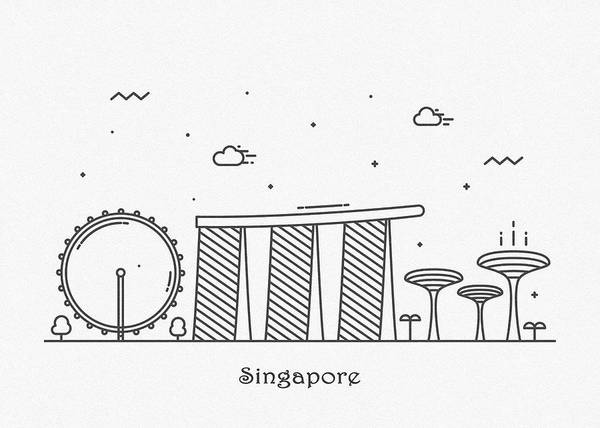Drawing - Singapore Cityscape Travel Poster by Inspirowl Design