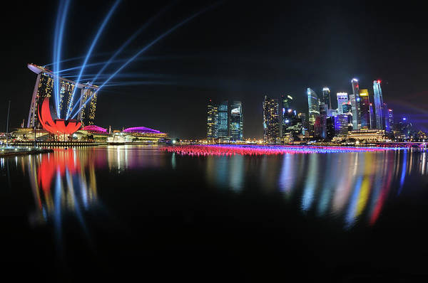 Beam Of Light Photograph - Singapore Countdown by Fiftymm99