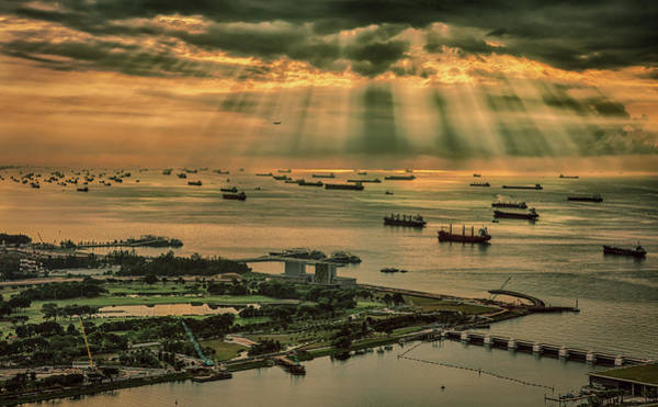 Photograph - Singapore Harbour by Chris Cousins
